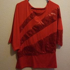 Tops - Red sequin shirt